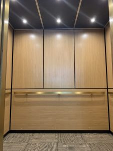 Wood Panels in An Elevator